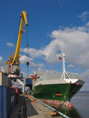 Loading of a vessel in a port — Стоковое фото
