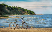 Bike on the sea coast — Stok fotoğraf