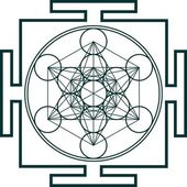 Metatrons cube - sacred geometry - flower of life — Stok Vektör