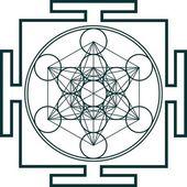 Metatrons küp - kutsal geometri - çiçek yaşam — Stok Vektör
