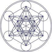 Flor de cubo - geometría sagrada - metatrons de la vida — Vector de stock