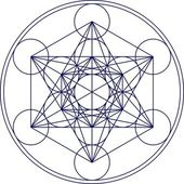 Metatrons cube - sacred geometry - flower of life — Vector de stock