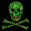 Stockfoto: Skull, bones, golden flower ornament, pirat