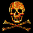 Skull, bones, fire ornament, pirat — Stock Photo