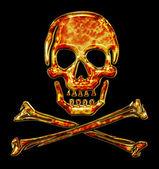 Skull, bones, fire ornament, pirat — Stock Photo