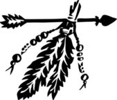 Arrow with feathers, Native Americans — Stock Vector