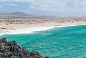 Fuerteventura, kanarya adası, i̇spanya cotillo kıyılarında panoraması — Stok fotoğraf