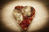 Pizza love heart — Stock Photo