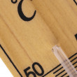 Oblique close up of thermometer in celsius scale — Stock Photo