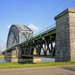 Railway bridge over river Rhine — Stock Photo