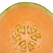 Stock Photo: Half honeydew melon isolated