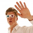 Guy with 3d movie glasses looking scared — Stock Photo