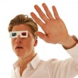 Scared guy with 3d movie glasses — Stock Photo
