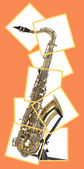 Tenor sax in boxed puzzle — Stock Photo