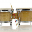 Bongo set with drum sticks — Stock Photo