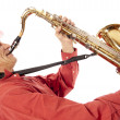 Man playing tenor saxophone enthousiastically — Stock Photo