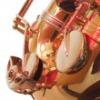 Brass tenor sax belly in closeup — Stock Photo