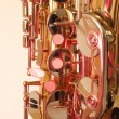 Brass tenor sax in closeup — Stock Photo
