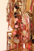 Brass tenor sax in closeup — Stockfoto