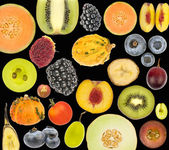 Fruit collage isolated in black — Stock Photo