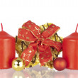 Cookie Christmas ribbon balls candles — Stock Photo