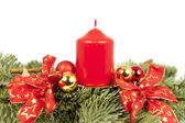 Christmas piece ribbons balls candle — Stock Photo