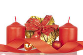 Cookie Xmas ribbon balls candles — Stock Photo