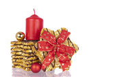 Biscuits Xmas ribbon balls candle — Stock Photo