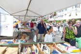 The Deventer book market in the Netherlands on august 3, 2014. The boulevard crowded with people scouring the book stalls. — Stock Photo