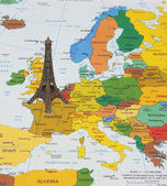 Eiffel Tower on the map — Stock Photo
