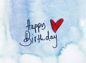 Happy birthday on blue — Stock Photo