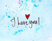 I love you on blue — Stock Photo