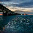 Stock Photo: Øresund Bridge reflected in icy waters