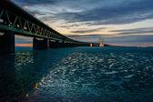 The Øresund Bridge reflected in icy waters — Stock Photo