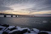 Icy waters by the Øresund Bridge — Stock Photo