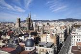 Una vista espectacular de la ciudad de barcelona — Foto de Stock