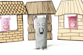 Straw, sticks and briks houses made with cardboard. — Stock Photo
