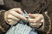 Knitting lesson — Stock Photo