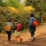 Young African Schoolgirls Walking Home from School — Stock Photo
