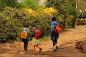 Young African Schoolgirls Walking Home from School — Stock Photo