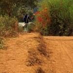 沿着塑业、 坦桑尼亚、 非洲的路边行走 — 图库照片