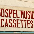 Gospel Music Cassettes Sign — Stock Photo