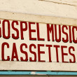 Stock Photo: Gospel Music Cassettes Sign