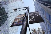 Vancouver Sun Run Street Banners between Sky Scrapers — Stock Photo