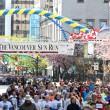 2013 Vancouver Sun Run Mass Start with Boston Jersey — Stock Photo