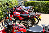 Parked Red Motorcycles — Stock Photo
