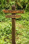 Wooden Sign to Playfield and Faraway — Stock Photo