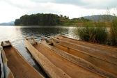 Dugout Canoes on a lake — Stock Photo