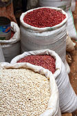 Bags of Red and White Beans in the Market — Stock Photo