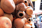 Hollow Gourds Hanging in a Market — Stock Photo